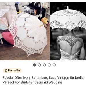 Accessories - Battenburg Lace Vintage Umbrella